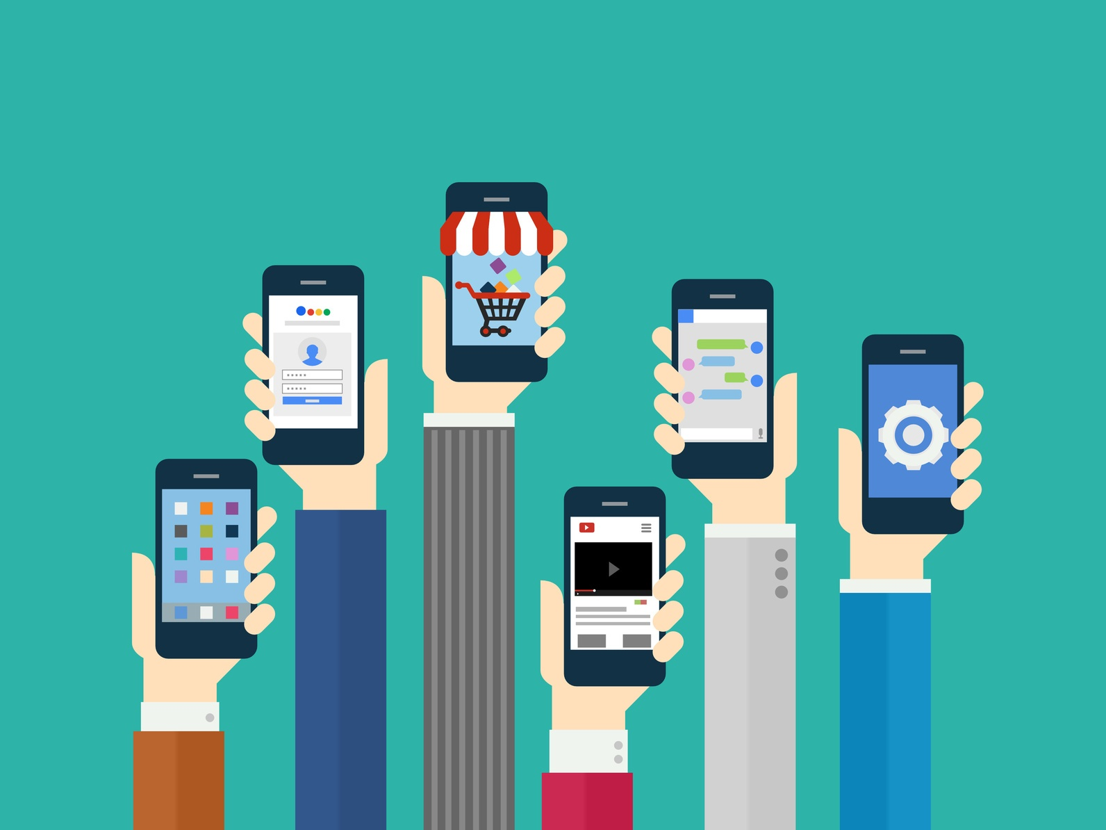 Illustration of six people showing their favorite manufacturing app for mobile devices