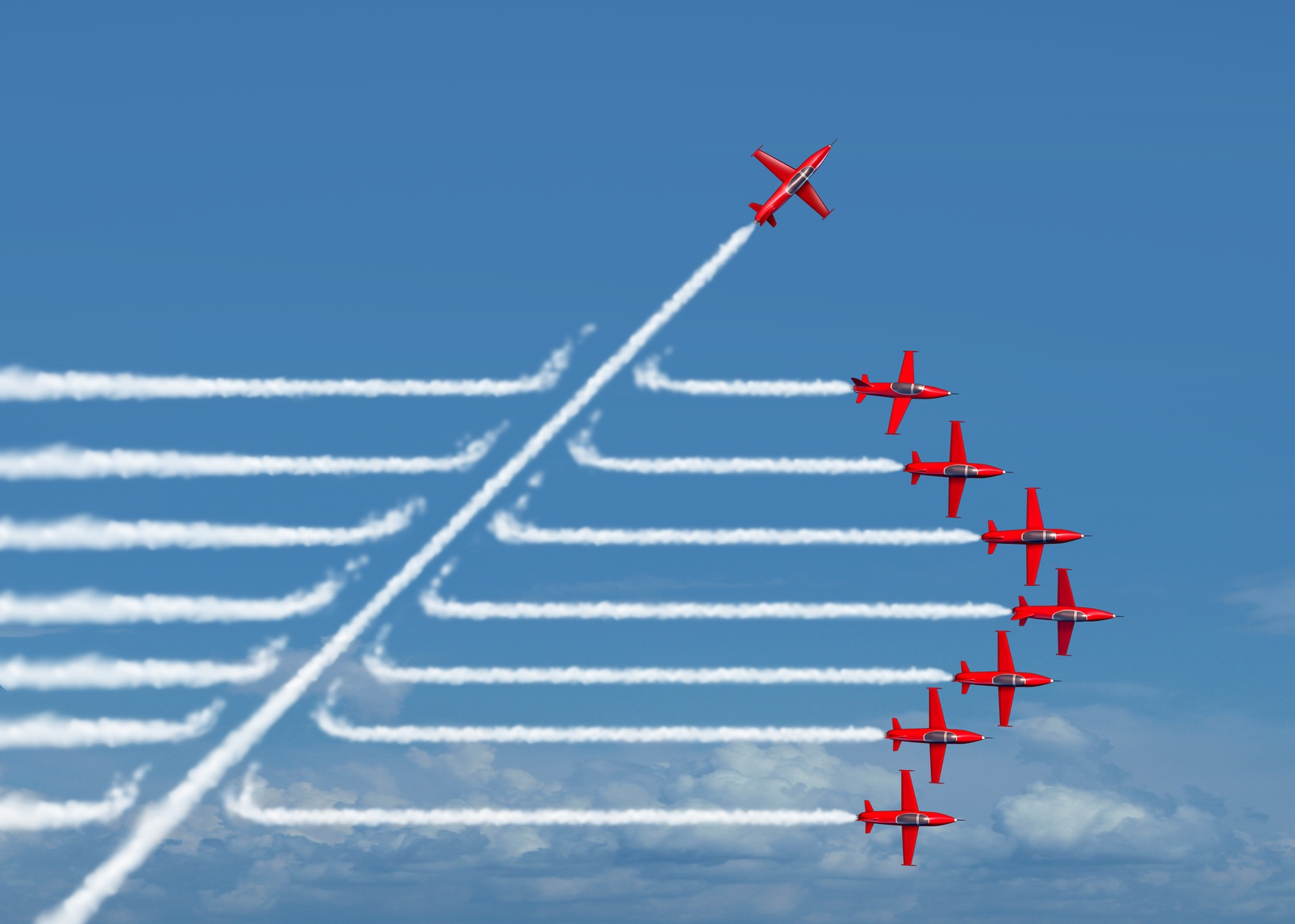 Group of Airplanes Flying in Formation with One Shifting Away from the Rest