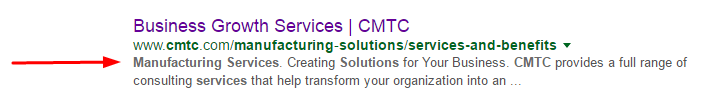 Meta description from Google's Search Engine Results Page