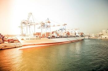 Cargo Ship Leaving Port of San Diego